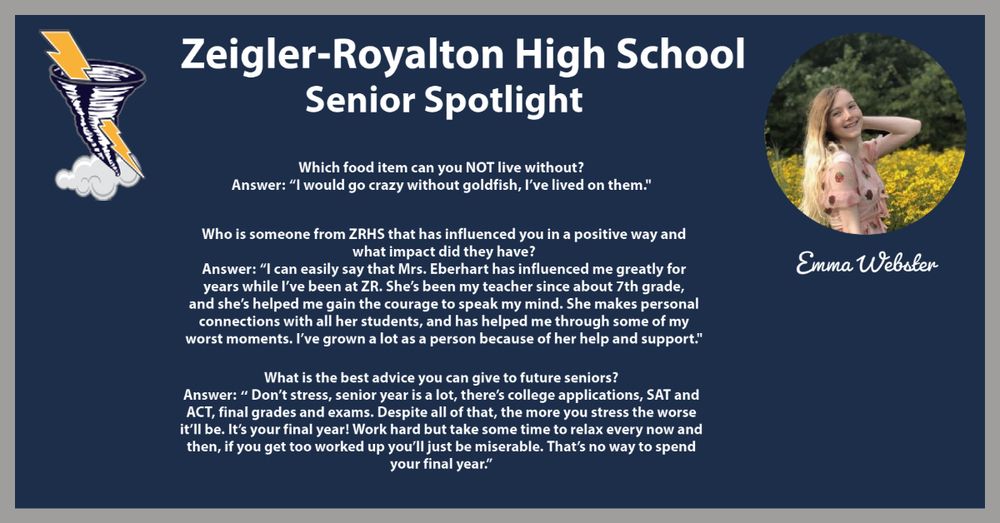 Week of 11/30/20 Senior Spotlight: Emma Webster